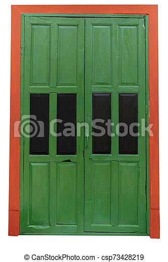 Wooden door green Orange border isolated on white background.. - csp73428219