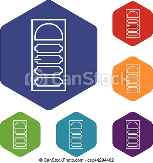 Wooden door with an arched glass icons set - csp44294462  sc 1 st  Can Stock Photo & Wooden door with an arched glass icons set rhombus in different ...