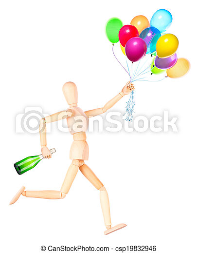 wooden Dummy holding flying balloons and champagne - csp19832946