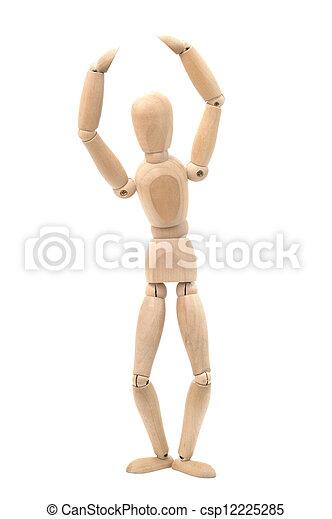 Wooden dummy in a ballet pose - csp12225285