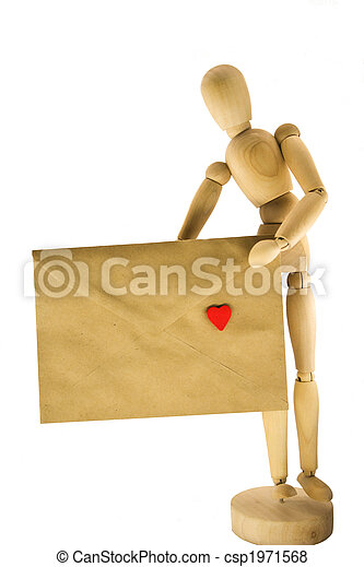 Wooden dummy with an envelope - csp1971568