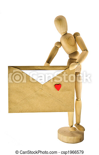 Wooden dummy with an envelope - csp1966579