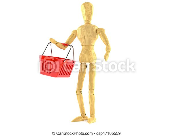 Wooden dummy with shopping basket - csp47105559