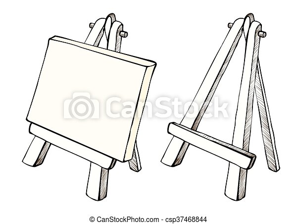 Wooden easel and canvas. Wooden painting easel with blank... eps ...