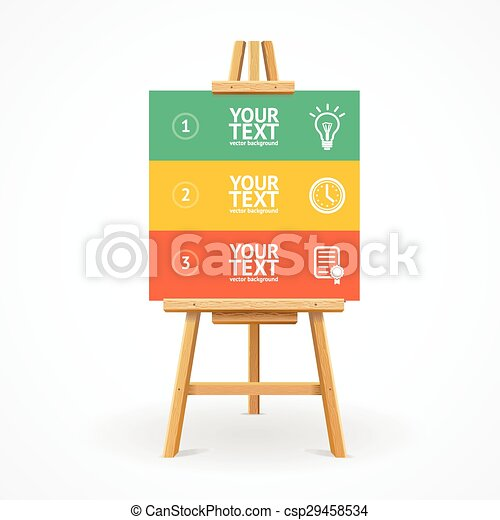 Wooden easel option banner. Vector - csp29458534