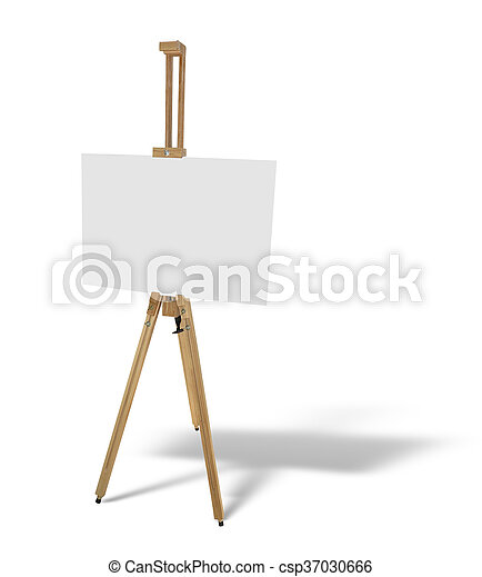 wooden easel with blank picture canvas isolated on white - csp37030666