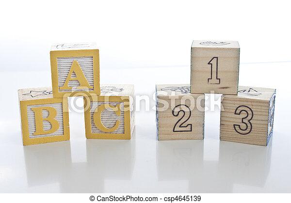 Wooden Education Blocks - ABC - 123 - csp4645139