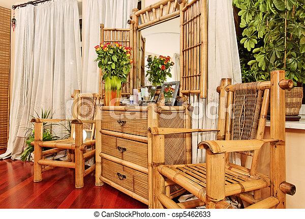 Wooden Ethnic Bamboo Boudoir Furniture   Csp5462633