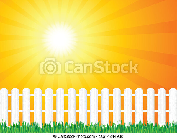 wooden fence and grass - csp14244938
