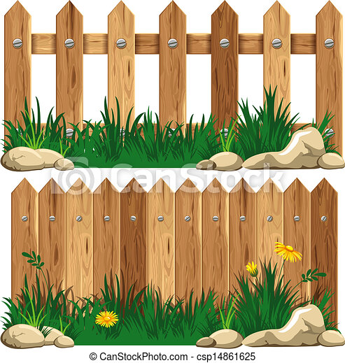 Wooden fence and grass - csp14861625
