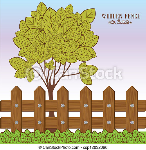 farm fence drawing. Wooden Fence - Csp12832098 Farm Drawing