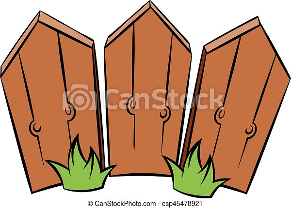 Vector Illustration Of Wooden Fence Icon Cartoon Wooden Fence - Cartoon fence clip art