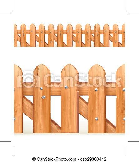 Wooden fence seamless border isolated on white background eps