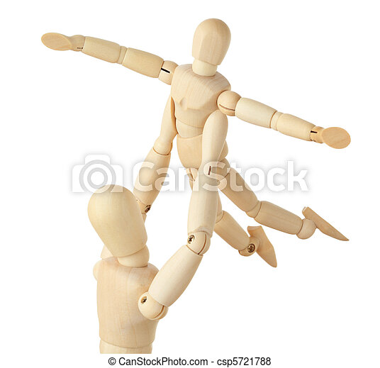 wooden figures of parent carring his child over his head, child aparting hands, half body, square format, isolated on white - csp5721788
