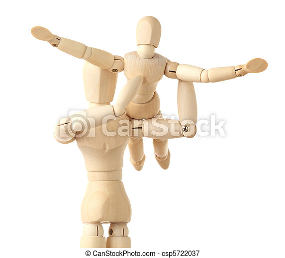 wooden figures parent holding his child on hands, half body, isolated on white - csp5722037