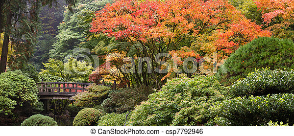 Wooden Foot Bridge at Japanese Garden in Fall - csp7792946