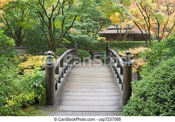 Wooden Foot Bridge in Japanese Garden - csp7237088