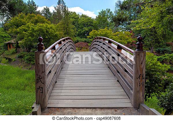 Wooden Foot Bridge to Tsuru Island Japanese Garden - csp49087608