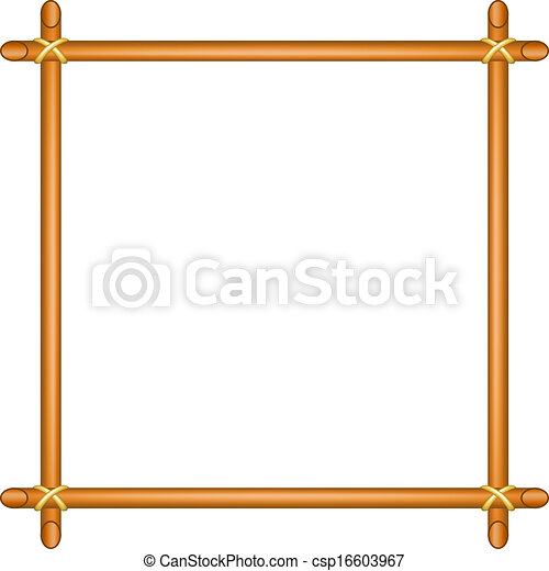 Wooden Frame In Brown Design On White Background