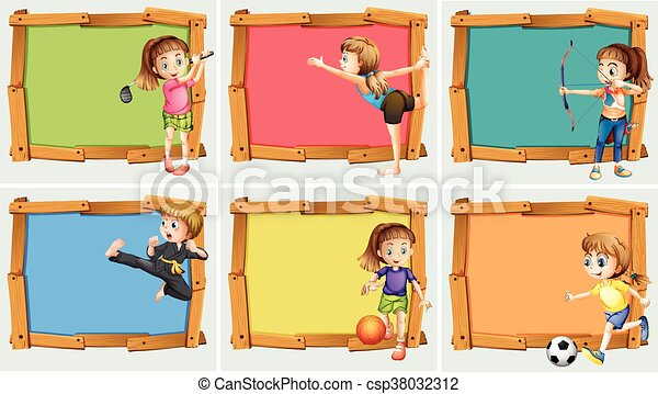 Wooden frame design with may sports - csp38032312
