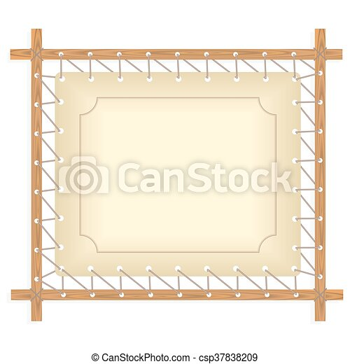 Wooden Frame Hanging On Crude Rope