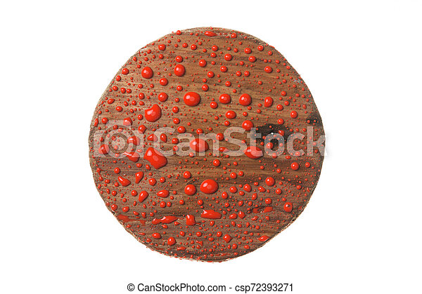 Wooden frame in drops of red paint on a white background. - csp72393271
