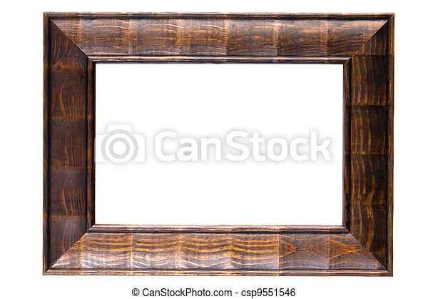 Wooden frame isolated on white background - csp9551546