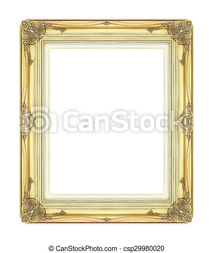wooden frame isolated on white background - csp29980020