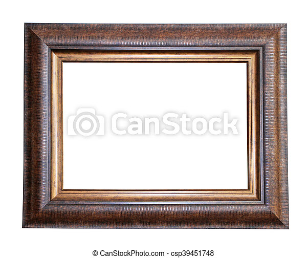 Wooden frame isolated on white background - csp39451748