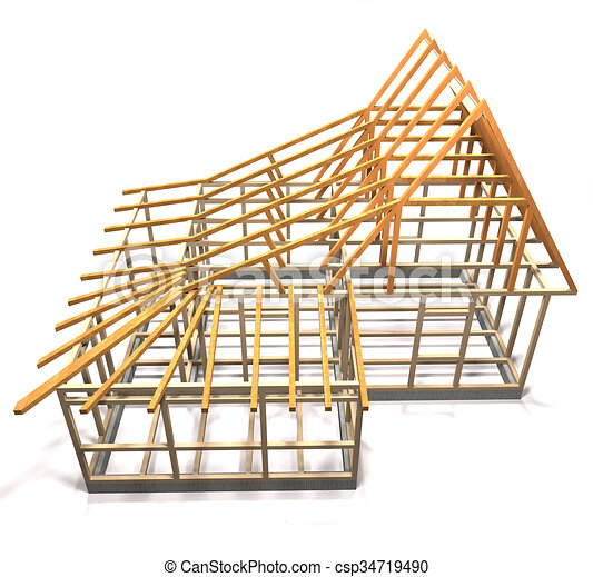 Wooden frame of a house (top view). Wooden frame under construction ...
