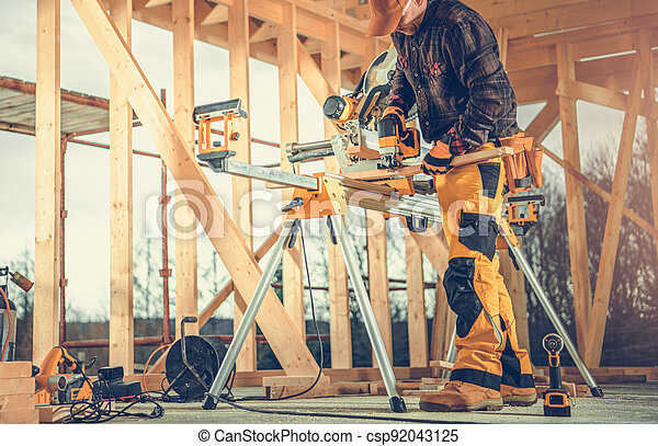 Wooden Frame of House Construction - csp92043125