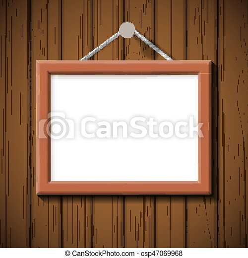 wooden frame on the background of brown wall - csp47069968