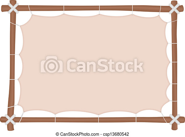 Wooden frame with a stretched canvas and a place to put text - csp13680542