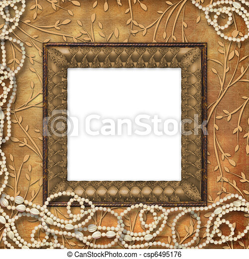 Wooden frame with beads on the leafage ornamental background - csp6495176