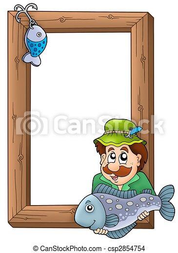 Wooden frame with fisherman - color illustration.
