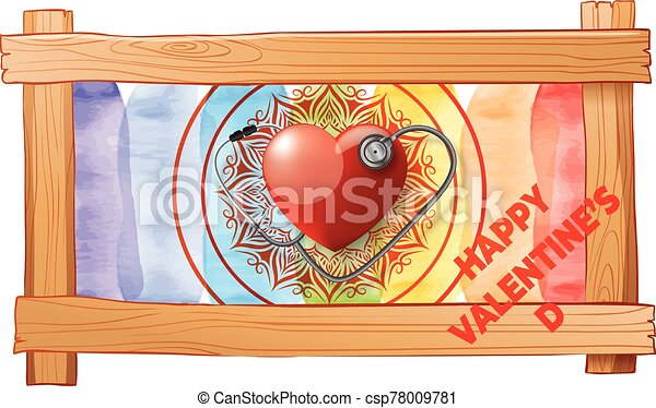 wooden frame with love on valentine background - csp78009781