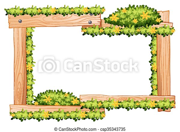 Wooden Frame With Yellow Flowers Around The Border