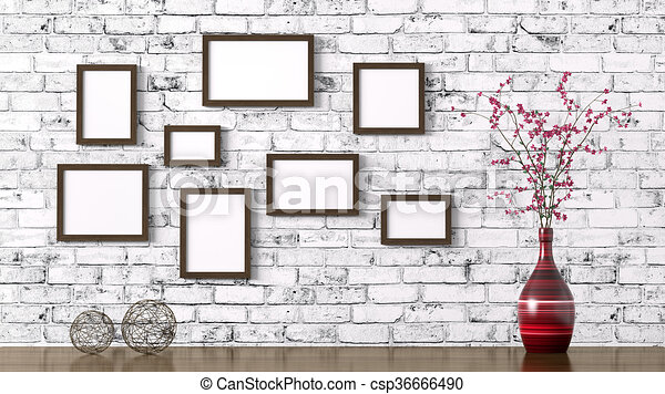 Wooden Frames And Shelf Interior Background 3d Rendering