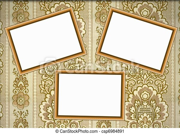 Wooden frames on wallpaper.