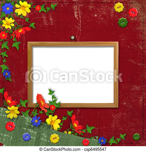 Wooden framework for portraiture on the abstract background with flowers - csp6495547