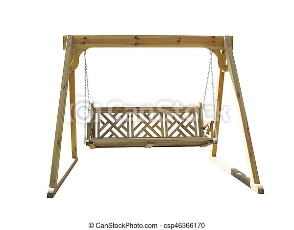 Wooden garden swing isolated on white. Wooden garden swing isolated ...