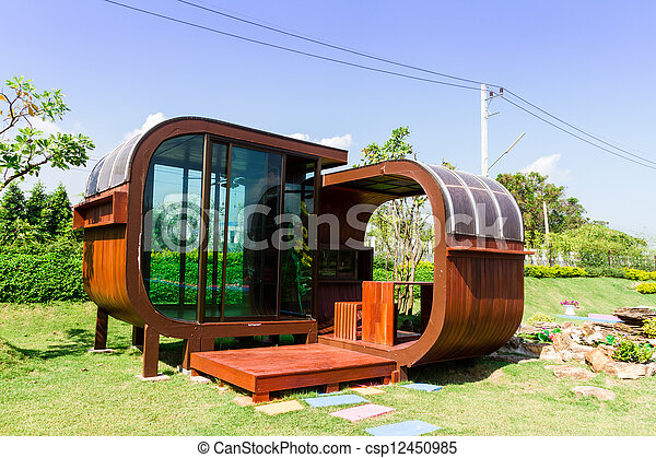 Wooden Garden Tool Shed In A Beautiful Park   Csp12450985