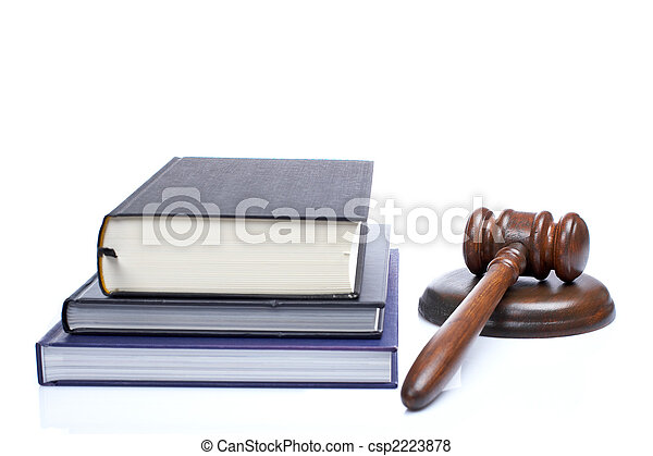 Wooden gavel and law books - csp2223878