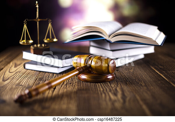 Wooden gavel and law books  - csp16487225
