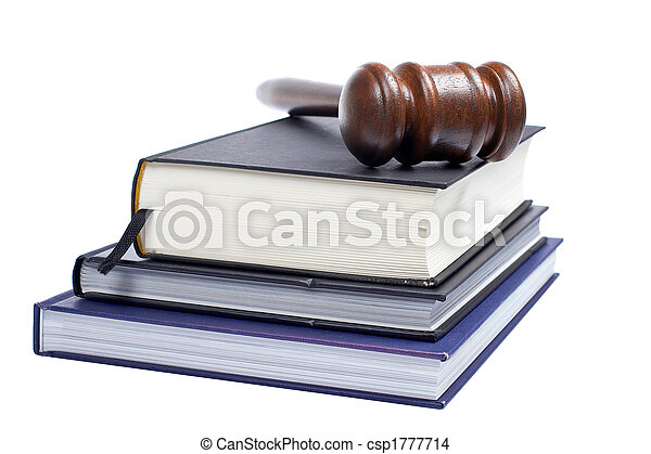 Wooden gavel and law books - csp1777714