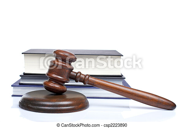 Wooden gavel and law books - csp2223890