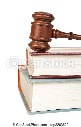 Wooden gavel and law books - csp2263620