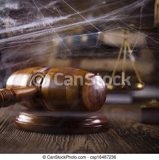 Wooden gavel and law books  - csp16487236