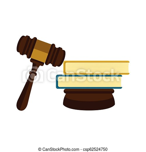 Wooden Gavel With A Pair Of Books Icon