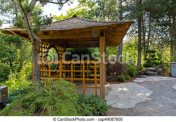 Wooden Gazebo at Tsuru Island Japanese Garden - csp49087600